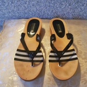 Sperry Top Sider Seabright Thong Black Patent Sz 9